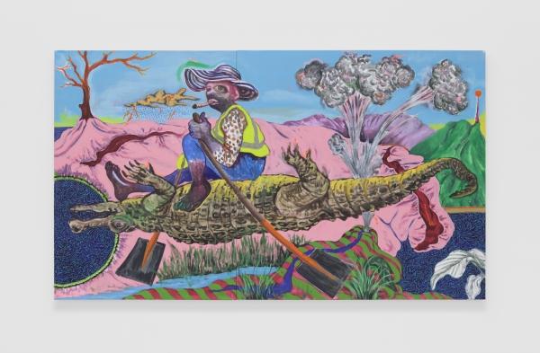 """LACMA acquires """"Bhekizwe, The Alligator Rider"""" (2020) by Simphiwe Ndzube"""