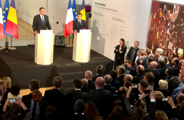 Romanian President Klaus Iohannis and French President Emmanuel Macron inaugurate the Romania-France Cultural Season at the Centre Pompidou