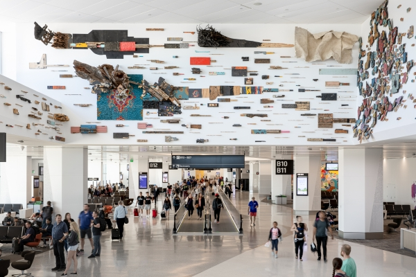 "Leonardo Drew public arts commission ""Number 69S,"" 2019 at San Francisco International Airport, Terminal 1"