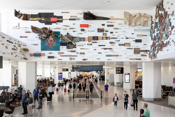 "Leonardo Drew public arts commission ""Number 69S,"" 2019 at San Francisco International Airport, Terminal 1"