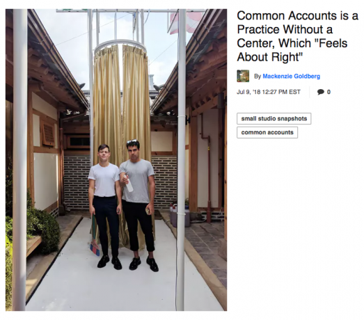 Miles Gertler collective, Common Accounts, featured in Archinect