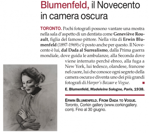 Erwin Blumenfeld Exhibition in Arte Magazine