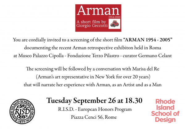 Arman 1954 - 2005: Film screening and discussion