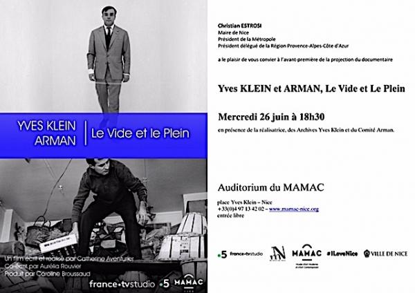 Yves Klein et ARMAN I Le Vide et le Plein: Film Screening