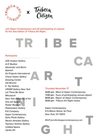 Cheryl Hazan Gallery participates in Tribeca Art Night