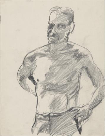 drawing of a shirtless man