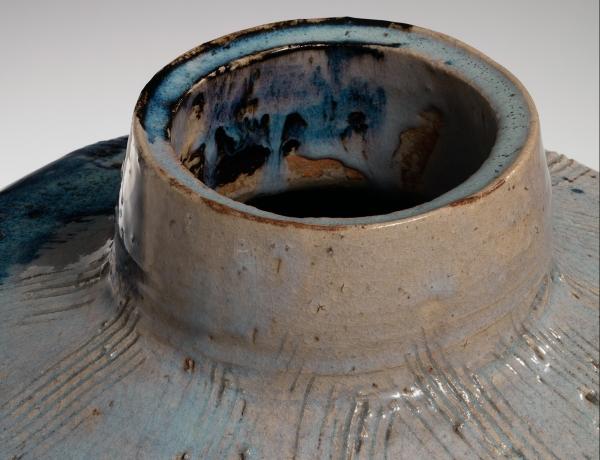 Rosanjin masterpiece Karatsu madara-glazed vessel featured in ArtFixDaily