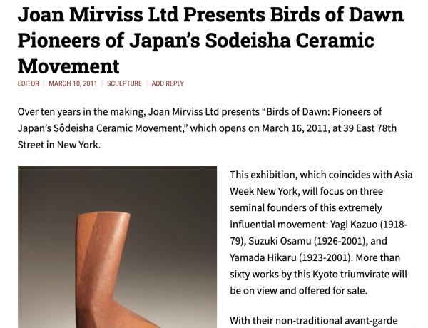 Joan Mirviss Ltd Presents Birds of Dawn Pioneers of Japan's Sodeisha Ceramic Movement