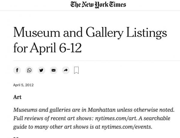 Museum and Gallery Listing: New York Times