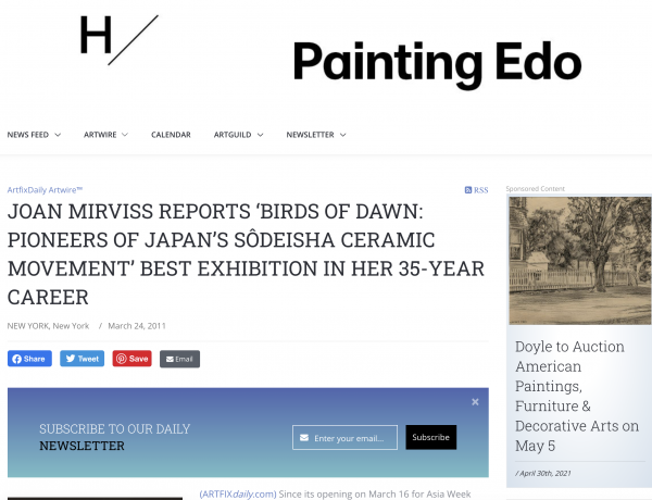 Joan Mirviss Reports 'Birds of Dawn: Pioneers of Japan's Sôdeisha Ceramic Movement' Best Exhibition in Her 35-year Career