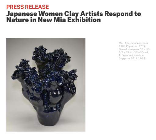 press release, Japanese Women Clay Artists Respond to Nature in New Mia Exhibition