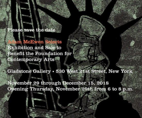 Sam Moyer in Adam McEwen Selects: Exhibition and Sale to Benefit the Foundation for Contemporary Arts