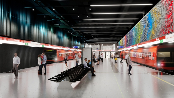 Leena Nio creates art to one of the five new Länsimetro stations