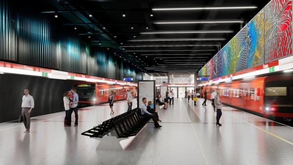 Leena Nio creates art to one of the five new Länsimetro stations