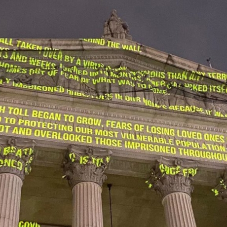 Artist Hank Willis Thomas Projected Writings by Prisoners Fearful of Catching Coronavirus Onto Manhattan's Criminal Justice Buildings