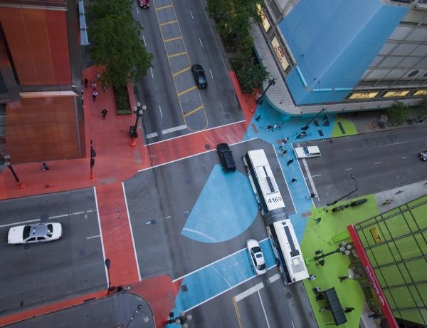 "Jessica Stockholder's ""Color Jam"" for the Chicago Loop Alliance"