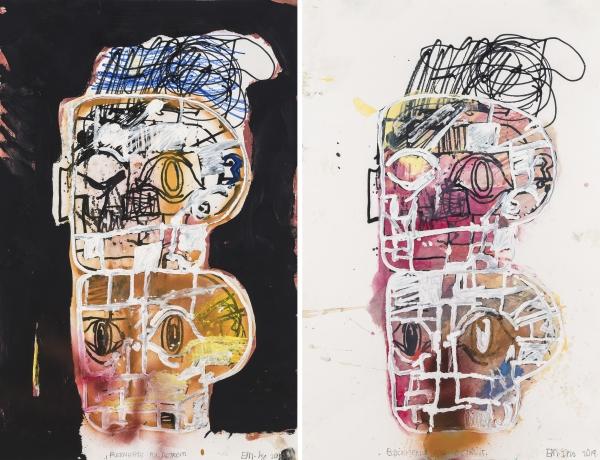Uniquely painted Eddie Martinez silkscreens to support MOCAD