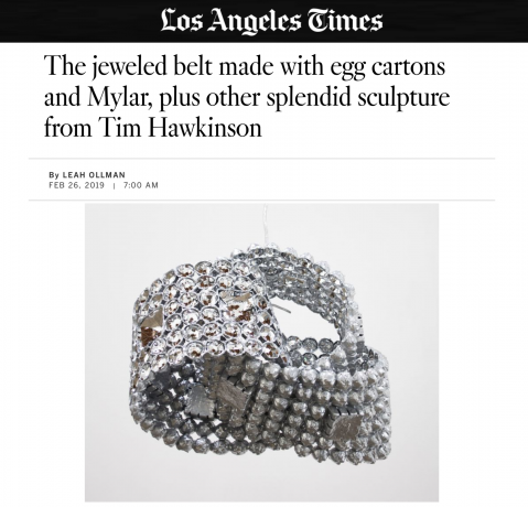 The jeweled belt made with egg cartons and Mylar, plus other splendid sculpture from Tim Hawkinson