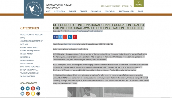 CO-FOUNDER OF INTERNATIONAL CRANE FOUNDATION FINALIST FOR INTERNATIONAL AWARD FOR CONSERVATION EXCELLENCE
