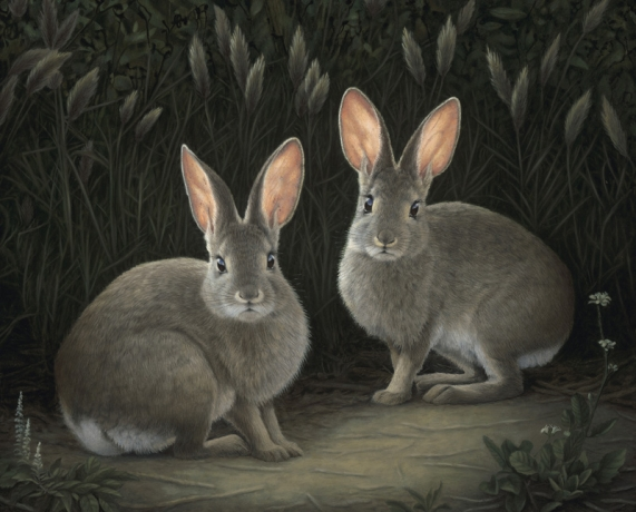 SUSAN MCDONNELL, Two Marsh Hares, 2021 published in Santa Barbara News Press review of REAL WOMEN exhibition