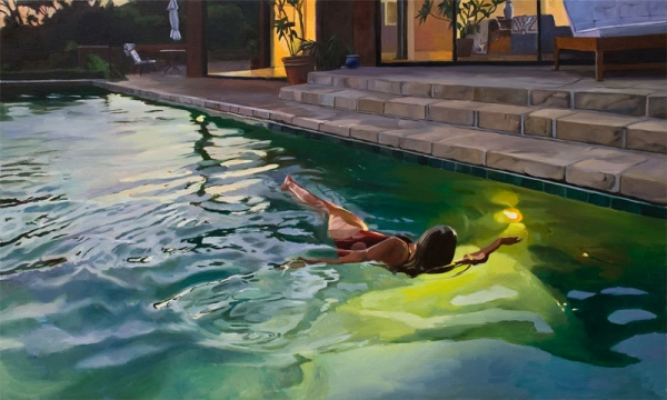PATRICIA CHIDLAW, Evening Swim, 2020 for review of REAL WOMEN: Realist Art by American Women in VOICE