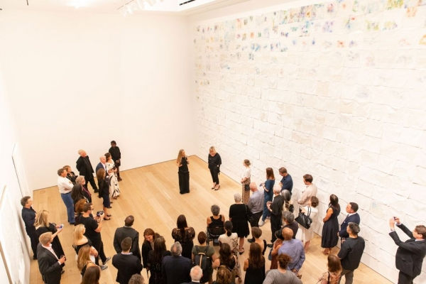Beads and art world bigwigs abound at the opening of Lehmann Maupin's new Chelsea gallery