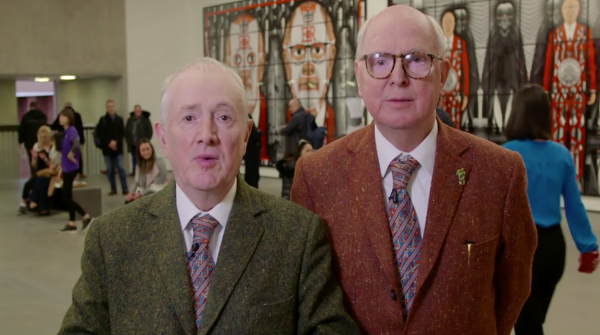 Watch: Gilbert & George take in the Belfast sights amid exhibition success​
