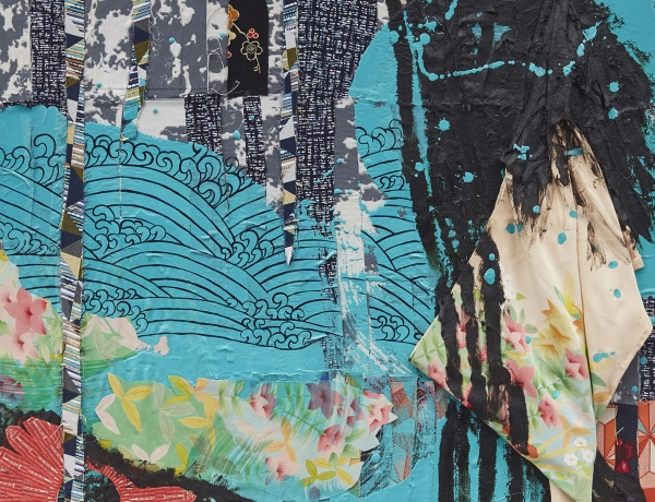 detail of sanford biggers quilt