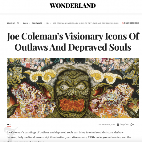 Joe Coleman's Visionary Icons Of Outlaws And Depraved Souls
