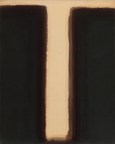 Yun Hyong-keun. Umber-Blue, 1976-1977,Oil on linen, 162.3x130.6cm, Courtesy of Yun Hyong-keun Estate and PKM Gallery.