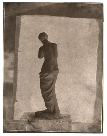 John Beasley GREENE (American, born in France, 1832-1856) Venus de Milo on rooftop in Paris, 1852-1853 Waxed paper negative 31.4 x 24.3 cm