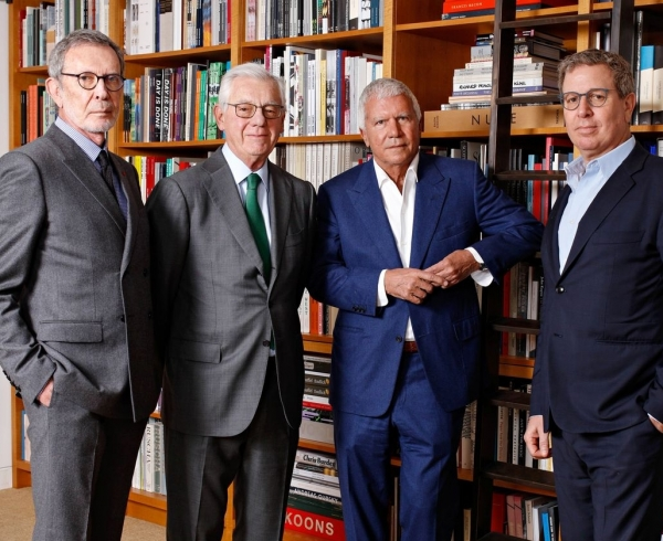 Photograph of gallerists, from left, Arne Glimcher, Bill Acquavella, Larry Gagosian and Marc Glimcher.