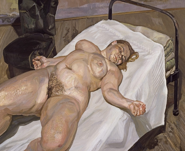 """Lucian Freud, """"Naked Portrait with Green Chair,"""" 1999"""