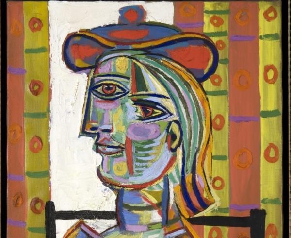"""Photograph of Pablo Picasso's """"Femme au beret et la collerette (Woman with Beret and Collar),"""" 1937"""