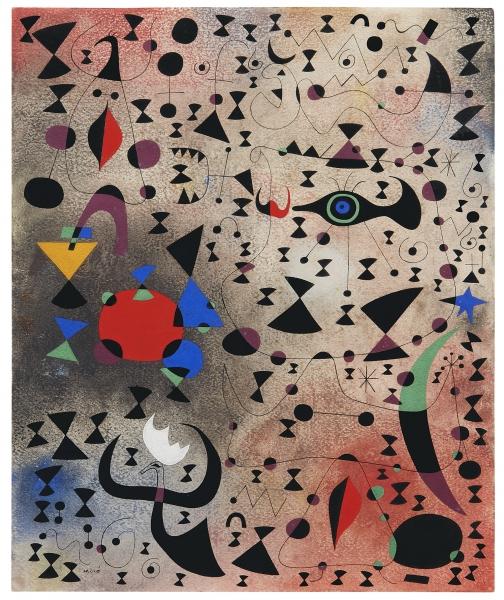 Joan Miró, Femmes au bord du lac à la surface irisée par le passage d'un cygnet (Women at the Edge of the Lake Made Iridescent by the Passage of a Swan), May 14, 1941