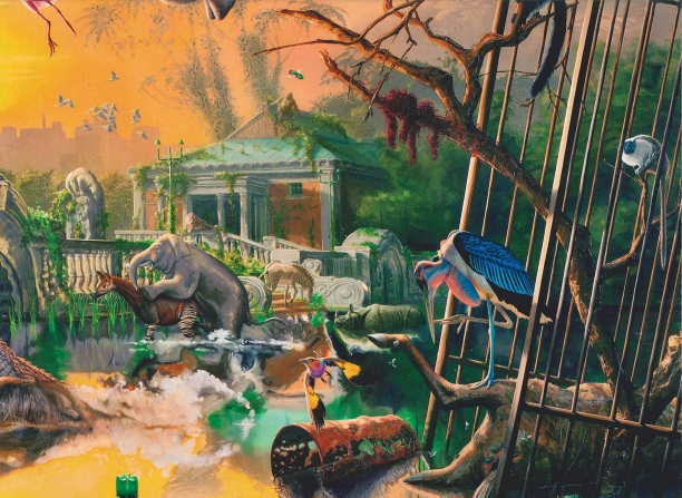 book cover illustrated with a painting of the Bronx Zoo overgrown with vegetation and animals free from their cages