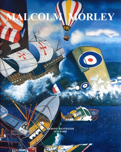 book cover illustrating disjointed details of cargo ships, a galleon, biplanes and a hot air balloon in the ocean