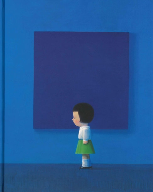 book cover showing a small girl in a white shirt and green skirt standing in front of a square blue painting in a blue room with blue carpet