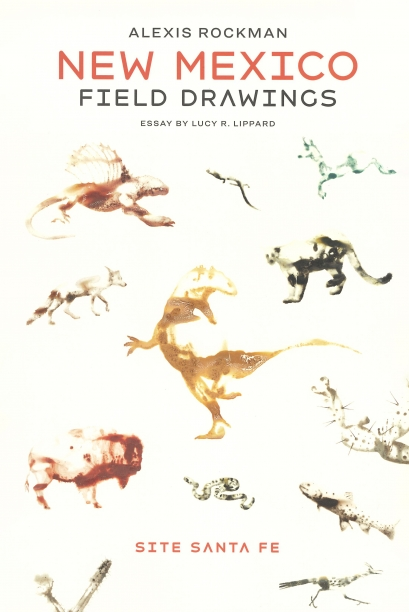 book cover illustrated with watercolor images of animals including a lizard, a wolf, a dinosaur, a buffalo, a snake, a fish and more