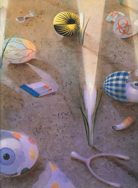 book cover illustrated with a detail of a painting showing eggshells, matches, a wishbone, eyeballs and small grasses on a sandy ground