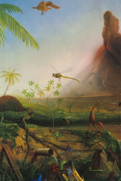 book cover illustrated with a painting of a prehistoric landscape with a insects and a lizard in the foreground and an exploding volcano in the background