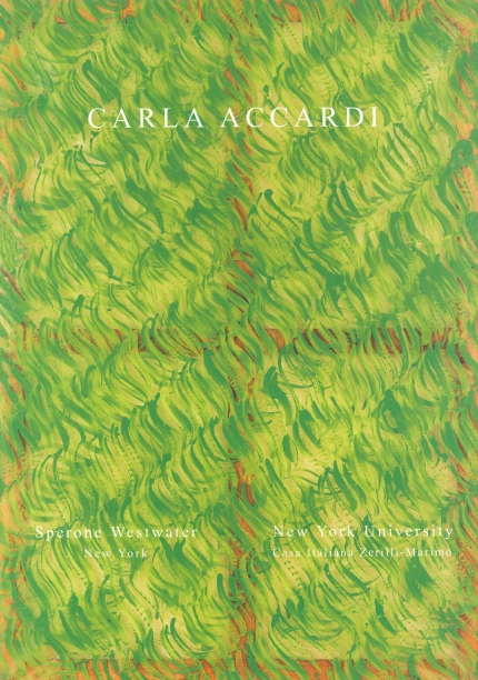 Carla Accardi book cover with green abstract painting in the background