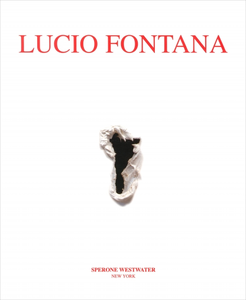 book cover with detail of a with Lucio Fontana painting with a central perforation