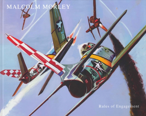 book cover illustrated with a painting four fighter planes engaged in an air battle