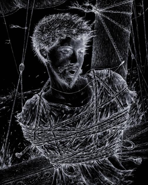 Odysseus ties to the mast