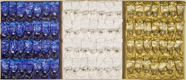 Arman Monochrome Accumulations - Blue, White & Gold (triptych) circa 1986