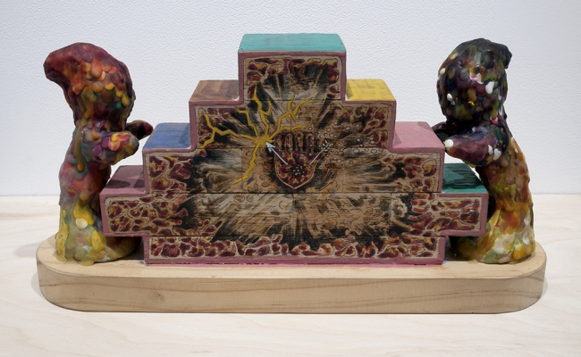 mariano ching wood and encaustic sculpture