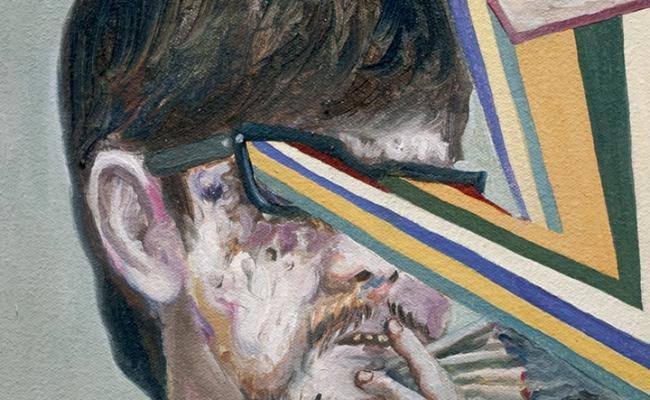 Mariano Ching painting of smoking man detail