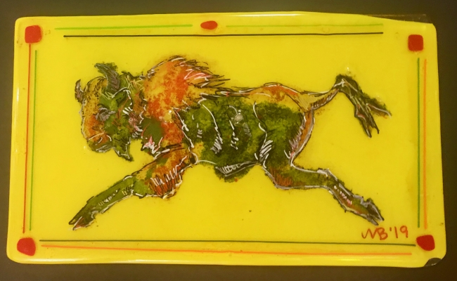 Fused Painted Glass with After Painted Images