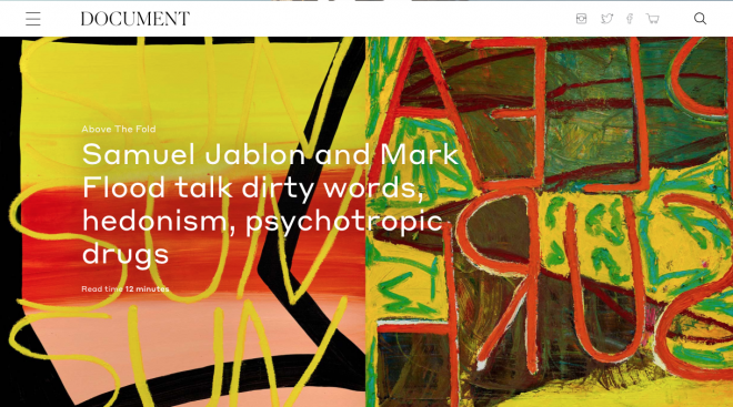 Samuel Jablon and Mark Flood Featured in Document Journal